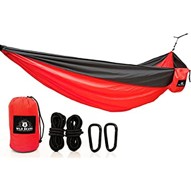 Wild Bears 1 Double Camping Hammock ON SALE | Best Quality Hammocks for 2 Person Lightweight, Portable, Parachute Nylon for Outdoors, Backpacking, Travel, Beach, Hiking, Yard, Garden | 118 x 78 in