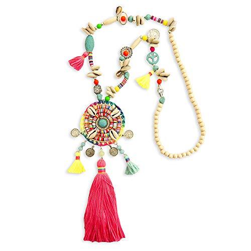 Kiss Me! Topmodel Ibiza Indianer Hippie Kette Halskette Handgefertigt Handmade Bunte Quaste Muscheln Münzen Peace Geflochten Glücksbringer Peace Extralang Länge 63cm