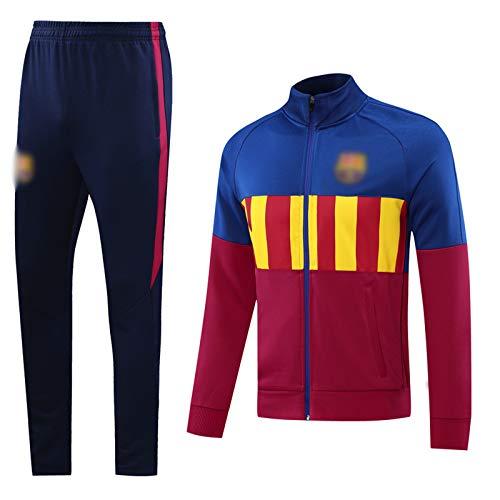 PUPPYY Chándal de fútbol Barca 20-21 New Season, Unisex Fútbol Entrenamiento Uniforme Transpirable Fútbol Sudadera y Pantalones XL