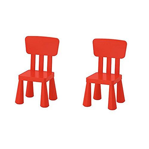 Ikea Mammut - Sedia per bambini per interni ed esterni, colore rosso, confezione da 2