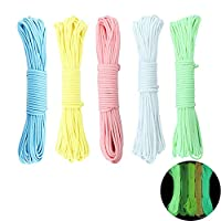 yyuezhi Luminous Glow in the Dark Paracord Parachute Cord Cords as Outdoor Rope All Purpose Rope Survival Rope Paracord Rope Made of Tear Resistant Nylon for Lanyards Keychain Dog Collar 5 Pcs 10
