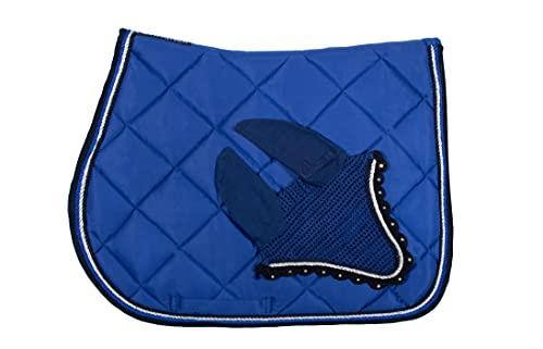 Wagner VS/Spring Set de tapis de selle avec bonnet anti-mouches et strass Bleu roi