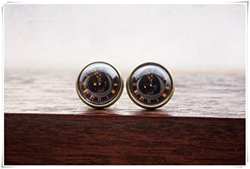 Vintage negro patrón de reloj pendiente de cúpula de cristal, pendiente de cabujón, patrón de reloj vintage,