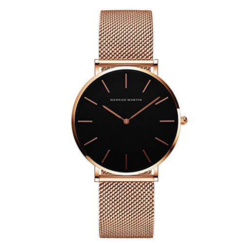 Hannah Martin Damen Uhren Analog Quarz Edelstahl Wasserdicht Mesh Ultradünne (Schwarz Oberfläche ,Rosegold Armband)