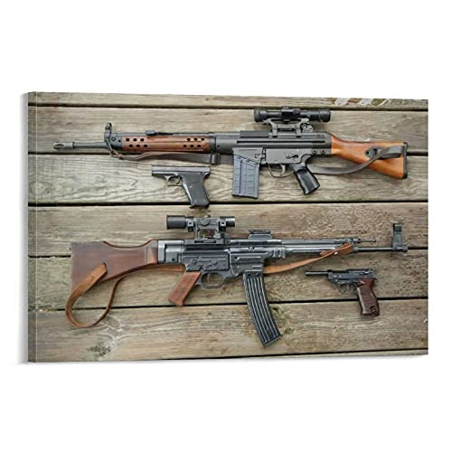 Wall Art Canvas Painting Posters Automatic Two Assault Rifles STG 44 Gun Poster Wall Boy Decorative Artwork Home Decor Living Room Decor 18x12inch(45x30cm)