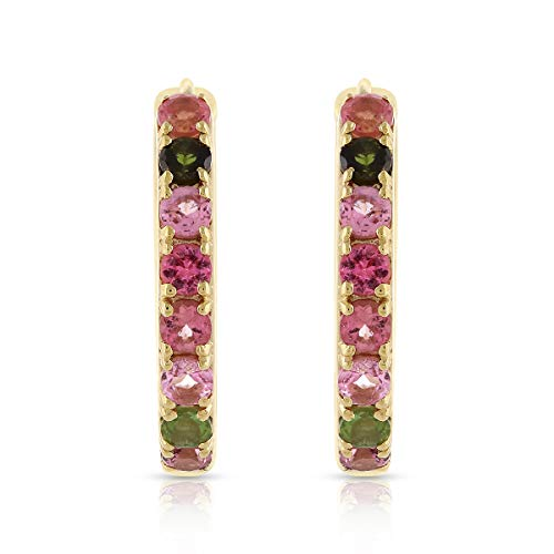 RisenshineJewel Round Natural Multi Tourmaline 925 Sterling Silver Hoop Earrings in 14ct Yellow Gold Plated for Women