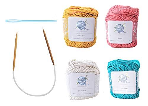 mindfulknits編み針、糸針、綿100%の編み糸を備えた初心者向け編み物キット(4)初心者向けのリラクゼーションとストレス解消のための基本的な編み物用品セット (Tropical)