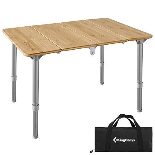 KingCamp Falt Tisch Camping Klapptisch Alu Bambus Holz Stufenlos Verstellbar XS