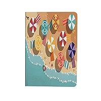 ビーチ Pad Air4 ケース 高級PUレザー iPad Air 4 ケース 2020 カラフルな傘の星を持つ夏の海岸フラットデザイン空撮休暇 軽量 薄型 iPad 10.9インチ カバー 耐衝撃 傷つけ防止 多色