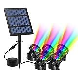 T-SUN Luces solares para estanques, 5 luces para estanques Lámpara sumergible 30 LED Proyector de luz RGB Cambio de color IP65 Foco solar impermeable para jardín al aire libre Patio Iluminación.