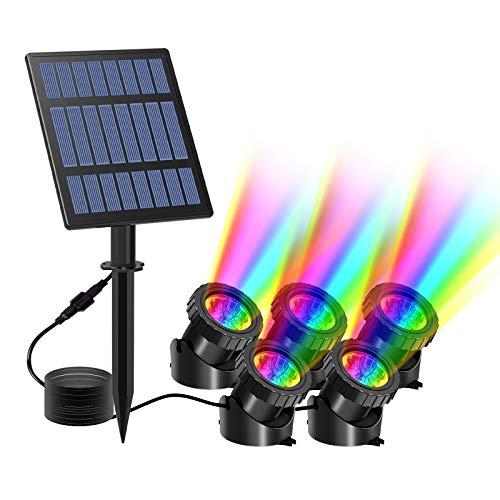 Solar Teichbeleuchtung, T-SUN RGB Solar Unterwasserstrahler LED Teich Licht Teichbeleuchtung mit IP68 wasserdicht, RGB-Farbwechsel Landschaftsscheinwerfer Gartenbeleuchtung für Garten, Patio, Baum