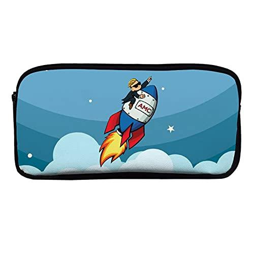 AMC - to The Moon - Estuche para lápices de gran capacidad para adultos y niños, con doble cremallera
