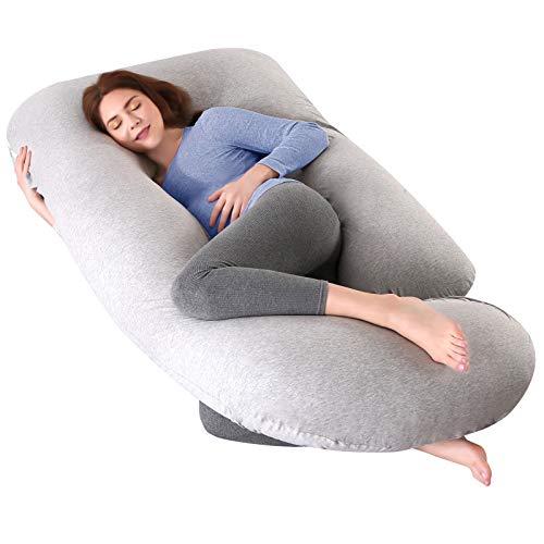 Almohadas de embarazo en forma de U para dormir, almohada de maternidad con funda de jersey lavable, almohada de maternidad para...