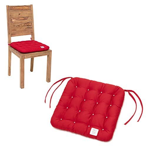 HAVE A SEAT Luxury - Sitzkissen 40x40 cm - bequemes Stuhlkissen, orthopädisch, waschbar bis 95°C, Trockner geeignet, farbecht - Made in Germany - (6er Set, Rot)
