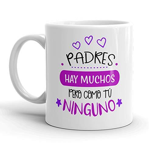 Kembilove Taza regalo día del padre – Tazas Desayuno para Papá con Mensaje Padres hay mucho pero como tú ninguno – Tazas originales – Regalo para padres