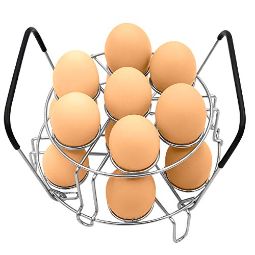 Stackable Egg Steamer Rack, BiaoGan Egg Cooking Rack with Heat Resistant Silicone Handles Compatible for Instant Pot Accessories 6,8 Quart, 14 Eggs Multipurpose Steaming Holder