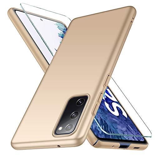 YIIWAY Samsung Galaxy S20 FE 4G / 5G Hülle + Panzerglas Schutzfolie, Gold Sehr Dünn Schutz Hülle Handyhülle Harte Schutzhülle Hülle für Samsung Galaxy S20 FE 4G / 5G YW41781