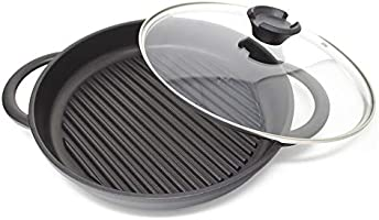"Jean-Patrique The Whatever Pan - Cast Aluminium Griddle Pan with Glass Lid | 10.6"" Diameter, Induction Compatible, Non-Stick"