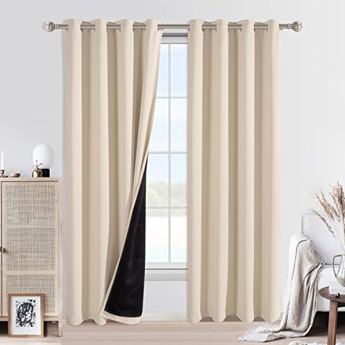 WONTEX 100% Blackout Curtains for Bedroom - Thermal Insulated, Energy Saving and Noise Reducing 2 Layers Lined Window Curtain Panels for Living Room, Beige, 52 x 120 inch, Set of 2 Grommet Curtains