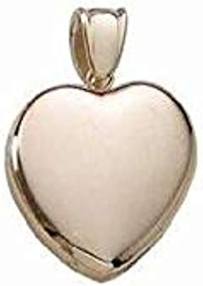 Solid 14k Premium Weight Yellow Gold Heart Picture Locket - 1 Inch X 1 Inch 14K Yellow Gold with Engraving