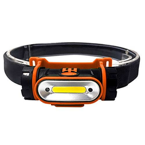 Super Tiger Motion Sensor LED Rechargeable Headlamp Adjustable and Waterproof COB Dimmable Floodlight For Hiking, Camping, Reading, Car Repairing, Orange