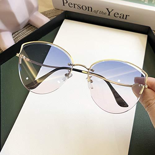 TEYUN Oulylan - Gafas de sol para mujer con ojo de gato de lujo, sin montura y degradado, lentes transparentes de color océano, gafas de sol UV400 (color: B)