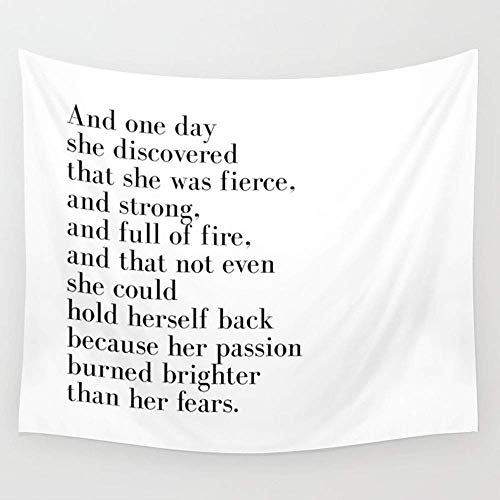 CHSUNHEY Tapisserie and One Day She Discovered That She Was Fierce Wall Tapestry Hanging Tapestries Wall Art Bed Sofa Dust Cover,Beach Blanket,Pick Nick Blanket,Table Cloth 60X80 inches