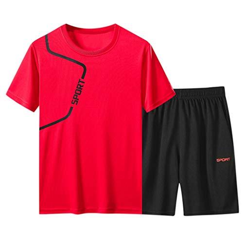 Sportanzug Herren Sporthose T-Shirts Set Trainingsanzug Sommer Kurze Hose Trainingshose Schnelltrocknende Atmungsaktiv Sport Anzug, Teenager Männer Fitness Gym Jogging Shorts Top Zweiteiler