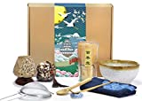 Japanese Matcha Set, Matcha Whisk (100 Prong), Scoop, Matcha Bowl, Ceramic Whisk Holder and Matcha Caddy for Matcha Tea, Handmade Matcha Ceremony Kit For Traditional Japanese Tea Ceremony(9 PCS)