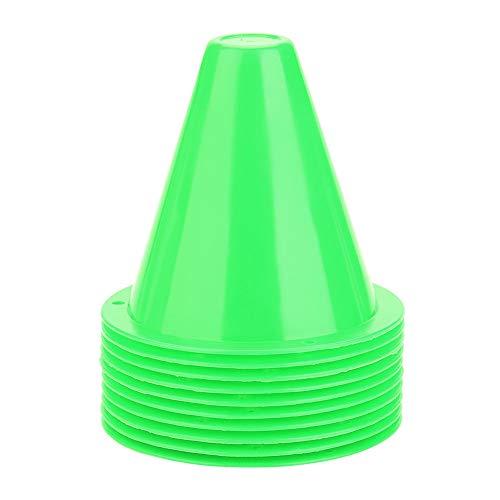 Sportowe pachołki drogowe, 10 szt.Piłki treningowe Pachołki Markery Pachołki drogowe Dobrze widoczne bariery piłkarskie Szyszki sygnałowe treningowe Stożek zwinności (zielony)
