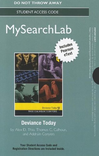 MySearchLab with Pearson eText -- Standalone Access Card -- for Deviance Today (MySearchLab (Access Codes))