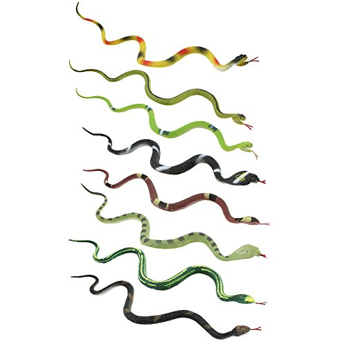com-four® 8-teiliges Gummischlangen Set, 8 kleine Gummischlangen verschieden Sortiert, ca. 34 cm (08 Stück - bunt)
