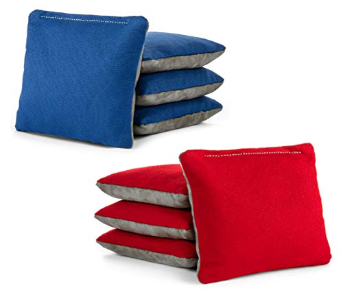 Tailgating Pros Red Royal Blue Pro-Style Cornhole Bags Two-Sided Slick & Stick Resin-Filled Suede and Duck Canvas Set of 8