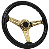 AJP Distributors Universal 6 Bolt Hole 345mm Deep Dish 3 Spokes Steering Wheel Black Wood Gold Spokes + Blank Button