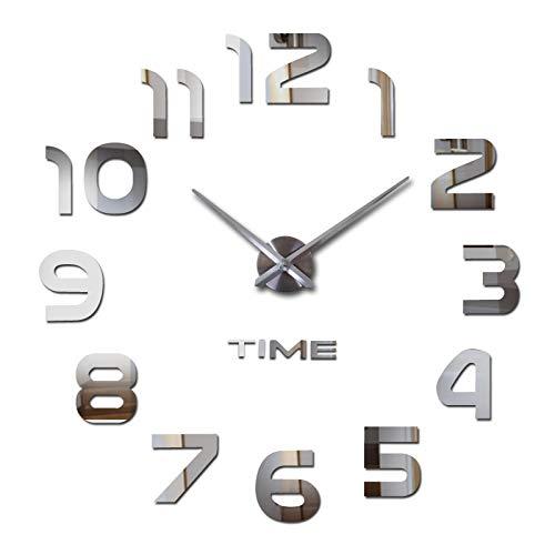 Lawei - Orologio da parete 3D, stile moderno, grande orologio fai da te, senza cornice, adesivo a specchio rimovibile, decorazione per casa e ufficio, colore argento