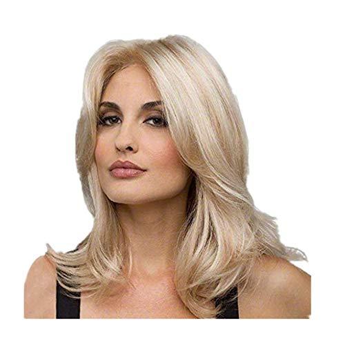 Staresen Damen Perücken Flauschige Perücke Weibliche goldene Locken Kurze Perücke Kopfbedeckung der Perücke Kurze Haare Flauschige Perücke Länge: 45 cm