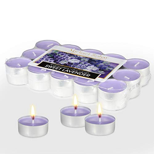 Michael Zohar Candles Scented Tealight 30 Pack Premium Light, for Spa, Meditation, Romantic Decor, Long Burning, Smokeless, Dripless Highly Scented Tea-Lights (Lavender)