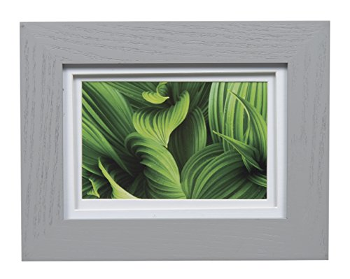 Gallery Solutions Wall Mount Double Mat Picture Frame, 4' x 6' with Mat or 5' x 7' Without Mat, Gray/White