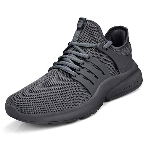 ZOCAVIA Herren Damen Sneaker Ultraleichte rutschfeste Sportschuhe Slip-On Sportschuhe Laufschuhe Grau 42