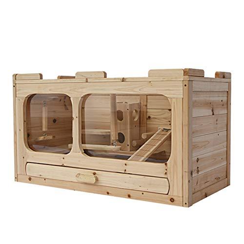 SYLTL Cage Habitat, Bois Massif Cage pour Cochon d'Inde D'intérieur Toit Ouvrable Cage Habitat avec Accessoires pour Cochons d'Inde Petits Animaux,78 * 40 * 44cm