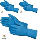 SAFEYURA® Good Quality Kitchen Hand Gloves for Women Medium Size Color Blue/Yellow