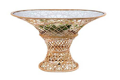 MASSON Gartentisch Fiberglas, oval, 120x80 cm, Farbe Bambus/Weiß, handgewickelt und wetterfest