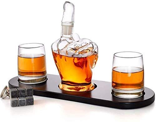 SOAR Botellero La Forma del Dedo Medio de la Jarra de Whisky 2 Licor Gafas, for Hombre Regalo de refrigeración Piedras del Whisky y el Embudo for el Ron, Whisky, borbón, Whisky