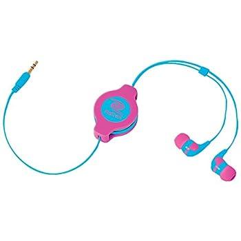 ReTrak Retractable Stereo Earbuds Neon Pink/Blue  ETAUDNPKBU