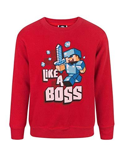 Minecraft - Felpa ufficiale con scritta Like A Boss - Bambino (5-6 anni) (Rosso vivace)