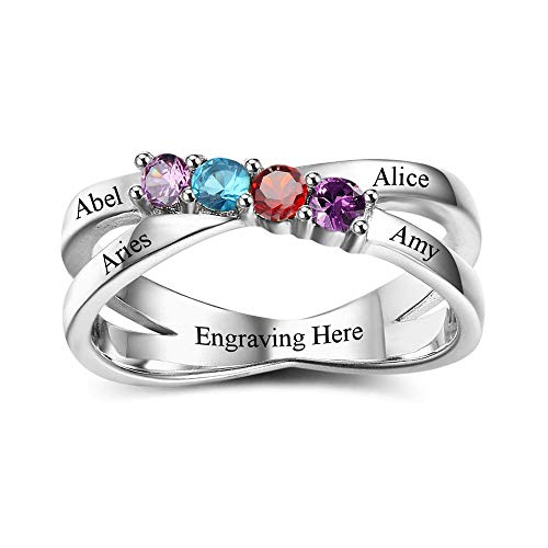 Grand Made Personalized Rings for Mother 4 Simulated Birthstones Rings 925 Sterling Silver Ring Ladies Mother's Day Rings Engraved Name Rings for Mom (62 (19.7))