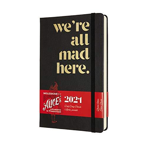Moleskine - Agenda Giornaliera 12 Mesi, Agenda Giornaliera 2021, Planner in Edizione Limitata Alice nel Paese delle Meraviglie, Tema Siamo Tutti Pazzi Qui, Formato LARGE 13 x 21 cm, 400 Pagine