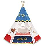 Tokay Kids Tent, Indoor and Outdoor, Anti-Slip Floor Mat and Carrying Bag - Multifunctional, Native American Kids Teepee with 6 sides for Inside and Outside Play - Water Resistant Children's Play Tent