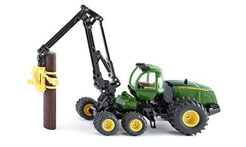 SIKU 1994, John Deere Harvester Holzvollernter, 1:50, Metall/Kunststoff, Grün, Flexibel drehbarer Arm, Inkl. 2 Kunststoff-Holzstämmen