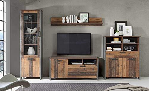 FORTE Wohnwandkombination 4-teilig in trendigem Vintage/Industrial Look bestehend aus einer Vitrine, einem TV-Lowboard, einem Highboard sowie einem Wandregal